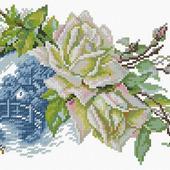 Белые розы и миниатюра. Схема вышивки крестом