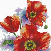 Алые тюльпаны 1. Схема вышивки крестом