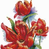 Алые тюльпаны 2. Схема вышивки крестом
