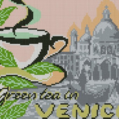 Зеленый чай в Венеции. Схема вышивки крестом