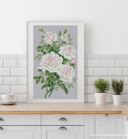 Белые розы. Схема вышивки крестом ручной работы на заказ