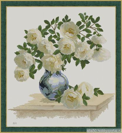 Белые шиповые розы. Схема вышивки крестом ручной работы на заказ