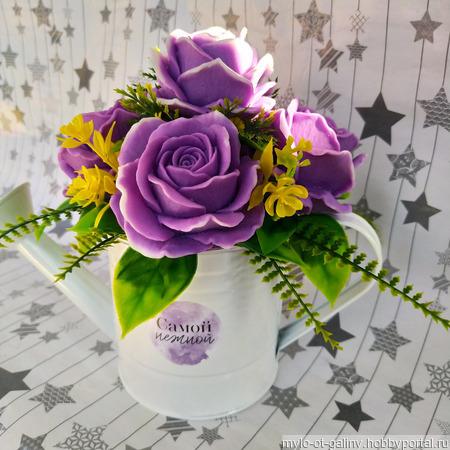 Мыльный букет роз в кашпо лейке ручной работы на заказ