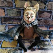 Кукла интерьерная, мышка летучая Хеллоуин
