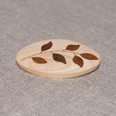 Брошь из дерева с инкрустацией Веточка