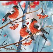 Схема для вышивки бисером, зима, птицы на ветке