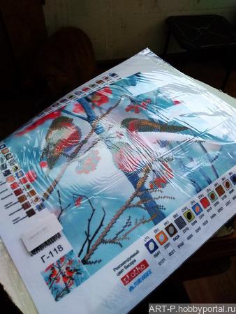 Схема для вышивки бисером, зима, птицы на ветке ручной работы на заказ