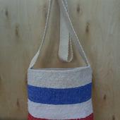 Тканая сумка Тоут  с широкими полосками, сделанная на ручном ткацком станке