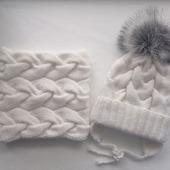 Комплект зимний, вязаный для девочки
