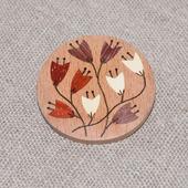 Брошь из дерева с инкрустацией Цветы №6